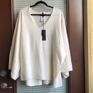NEW BCBG MAXAZRIA white wool poncho sweater M/L